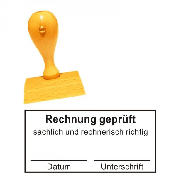 Stempel « RECHNUNG GEPRÜFT sachlich + rechnerisch richtig » mit Datum und Unterschrift