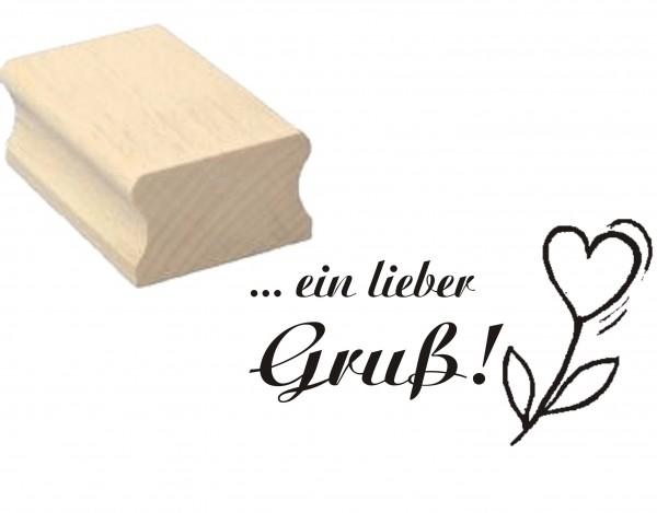 Stempel « Ein lieber Gruß » Herz Blume - Motivstempel 50 x 30 mm