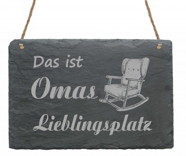 Schild Das ist Omas Lieblingsplatz - Türschild Schaukelstuhl 22 x 16 cm