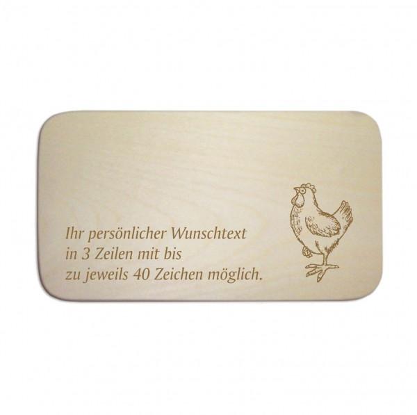 Frühstücksbrettchen « Stolzes Huhn » mit Wunschgravur