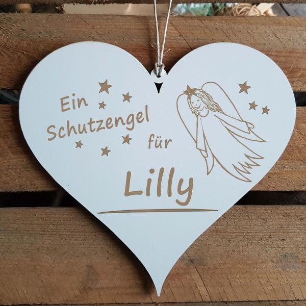 Herz Schild Ein Schutzengel für + Wunschname - Türschild 13 x 12 cm