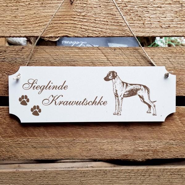 Schild « Rhodesian Ridgeback » Namensschild Türschild zum Anhängen - 20 x 6,7 cm