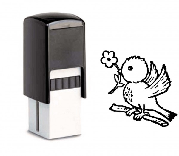 Bonuskartenstempel Vogel mit Blume - 10 x 10 mm
