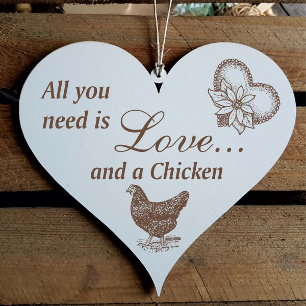 Herz Schild All you need is love and a Chicken - schwarzes Huhn - 13 x 12 cm