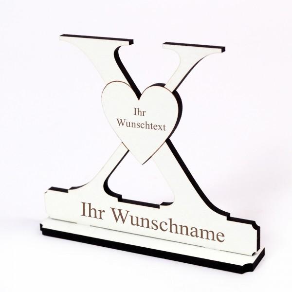 Buchstabe X mit Herz - Name und Wunschgravur - Schild zum Hinstellen