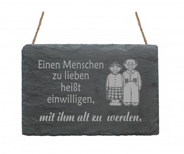 Schiefertafel « Einen Menschen zu lieben heißt... » Motiv Oma und Opa