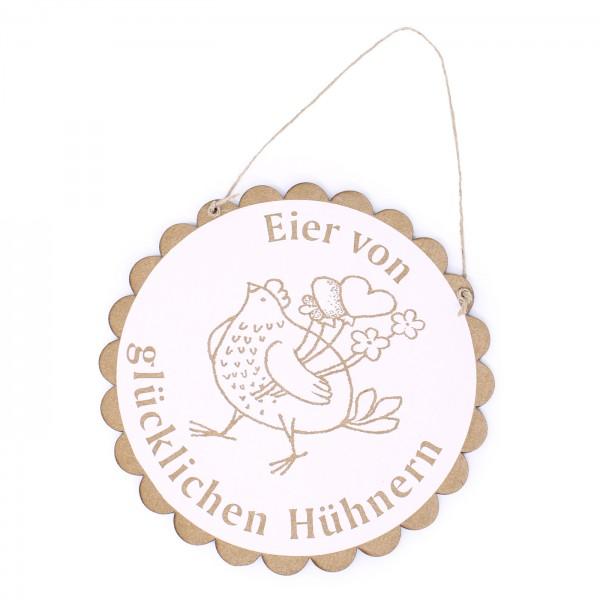 Schild Eier von glücklichen Hühnern mit Motiv Huhn mit Herzen • Ø 20 cm