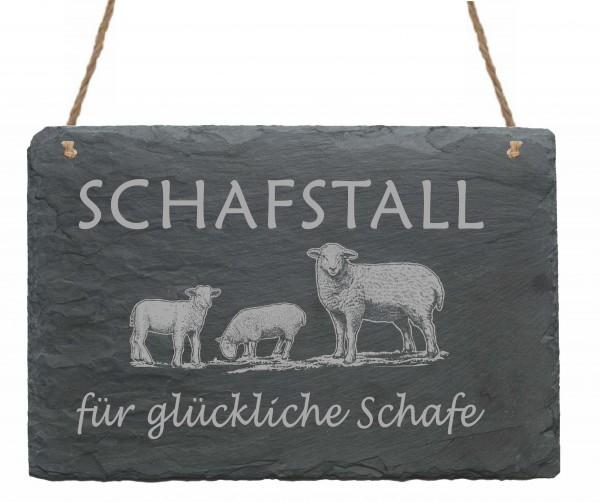 Schiefertafel « Schafstall für glückliche Schafe »