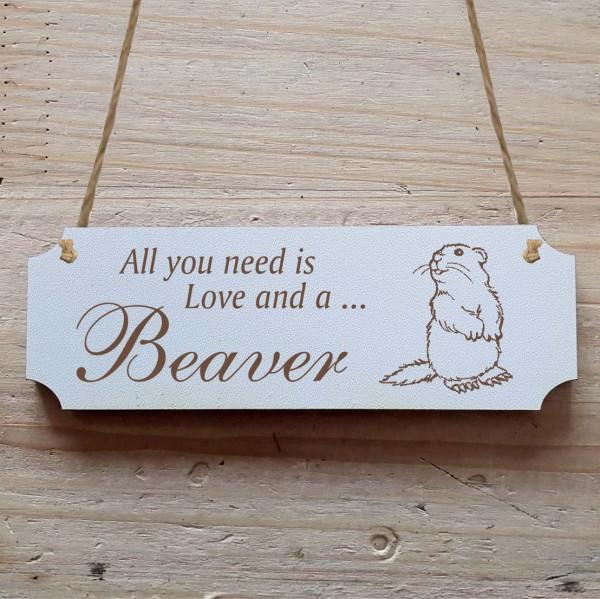Dekoschild « All you need is Love and a Beaver » Biber 1