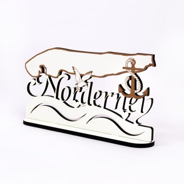 Schild « Insel Norderney » zum Hinstellen - mit Anker Möwe Herzen