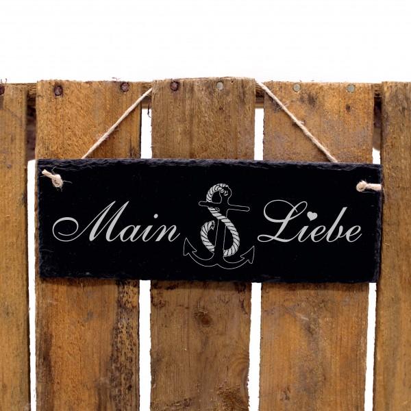 Schiefertafel Main Liebe - Anker - Deko Schild 22 x 8 cm