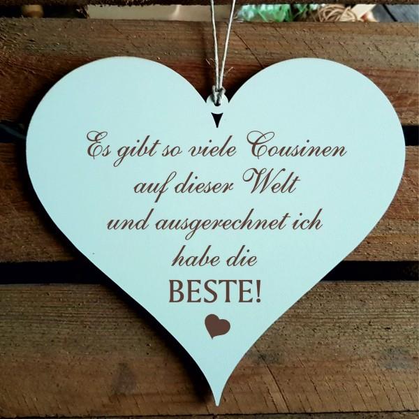 Schild Herz mit Spruch Beste Cousine der Welt - 13 x 12 cm