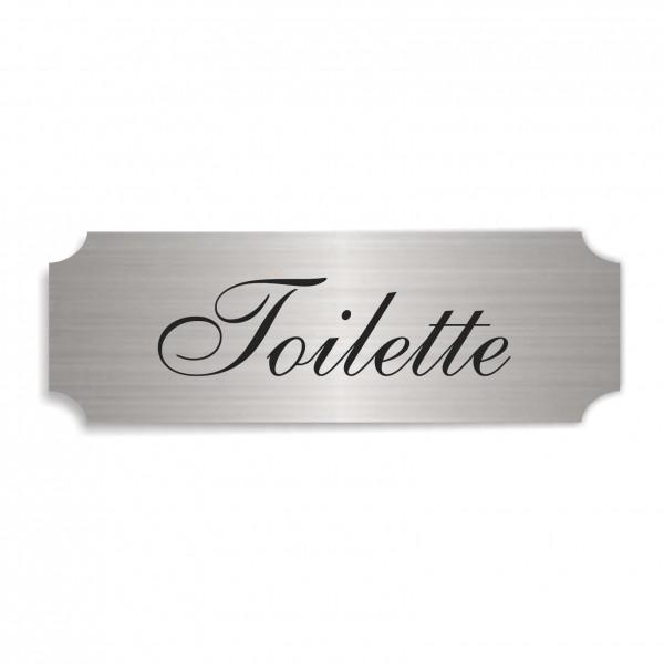 Schild « TOILETTE » selbstklebend - Aluminium Look - silber