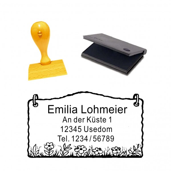Stempel Etikett Blumenwiese - mit persönlicher Adresse und Stempelkissen