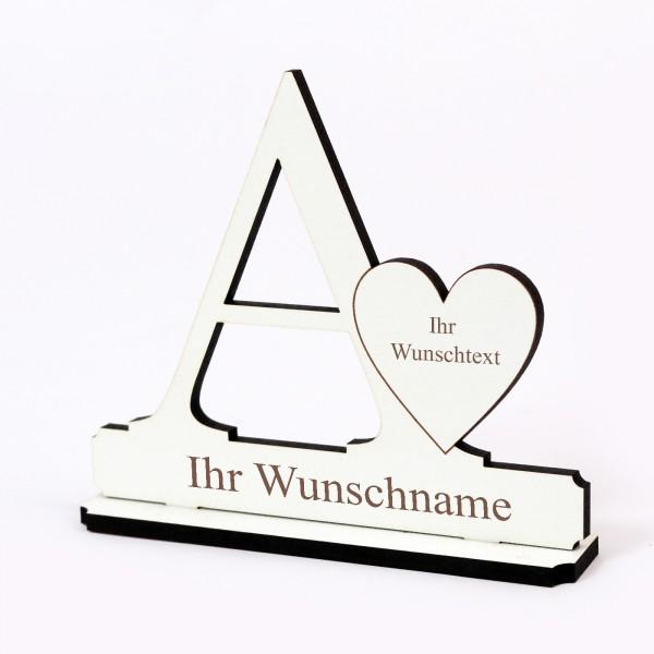 Buchstabe A mit Herz - Name und Wunschgravur - Schild zum Hinstellen