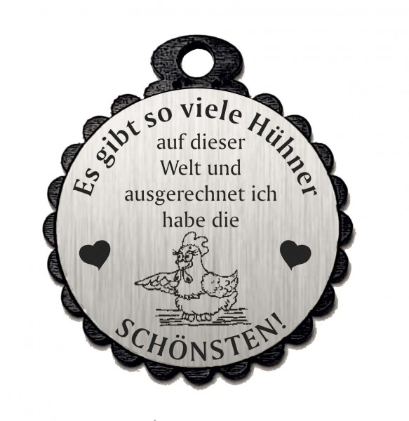 Runder Anhänger « DIE SCHÖNSTEN HÜHNER 02 » mit Motiv HUHN - Aluminium Look - silber