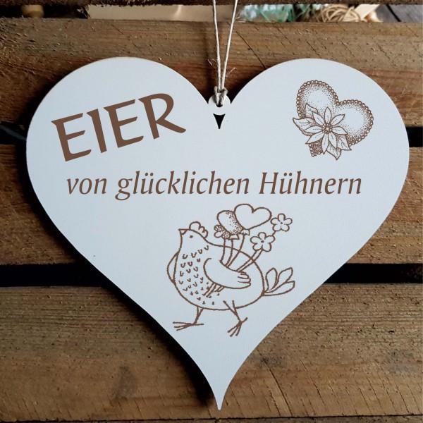 Schild Herz Eier von glücklichen Hühnern - Huhn mit Herzen