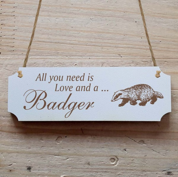 Dekoschild « All you need is Love and a Badger » Dachs