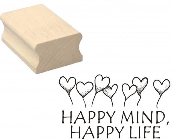 Stempel « HAPPY MIND, HAPPY LIFE » Motivstempel Herzen 50 x 30 mm
