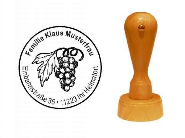 « Weintraube » Holzstempel mit persönlichem Wunschtext