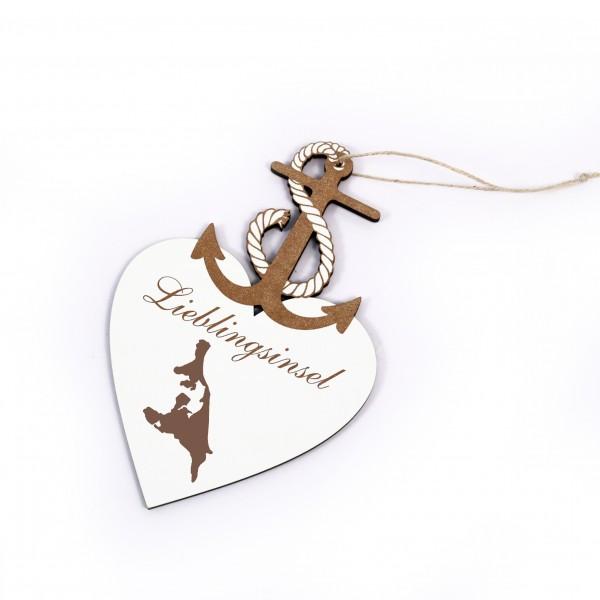 Maritimes Schild « Lieblingsinsel USEDOM » Herz Anker