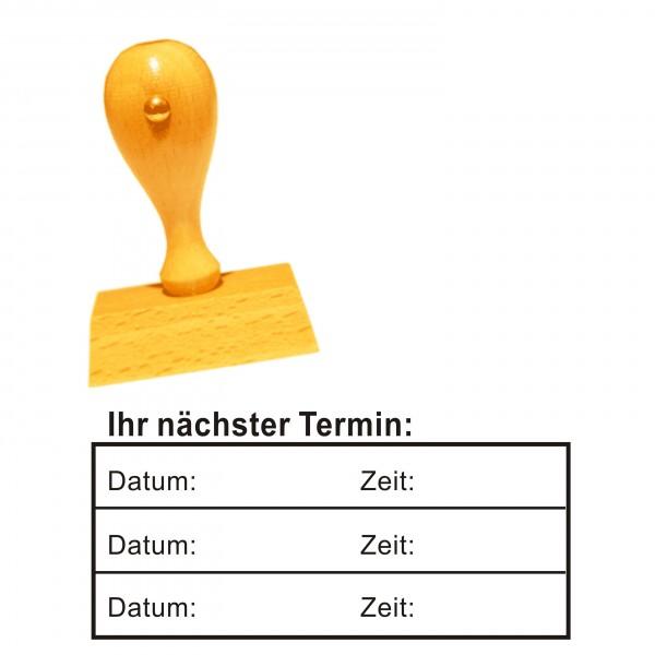 Stempel « IHR NÄCHSTER TERMIN » mit Datum und Zeit