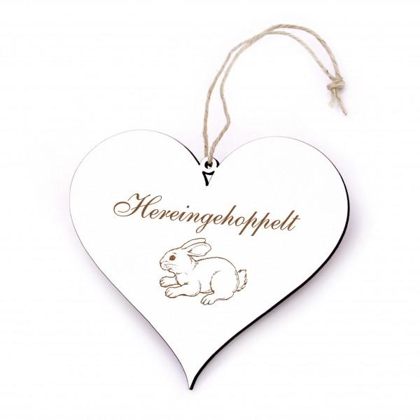 Herz Schild Hereingehoppelt - Häschen Türschild 13 x 12 cm