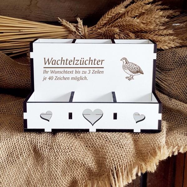 Personalisierte Stiftebox « WACHTEL ZÜCHTER » mit 6 Fächern + Name oder Wunschtext