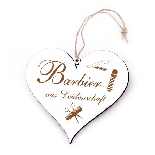 Schild Herz Barbier aus Leidenschaft - Dekoschild 13 x 12 cm