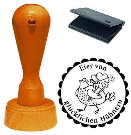 Stempel Eier von glücklichen Hühnern mit Motiv Huhn mit Herzen Ø 40 mm - inkl. Kissen