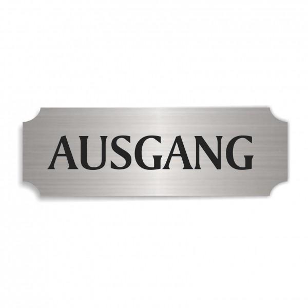 Schild « AUSGANG » selbstklebend - Aluminium Look - silber