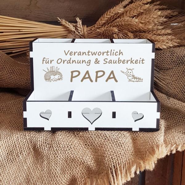 Dekorative Stiftebox für Papa « VERANTWORTLICH FÜR ORDNUNG & SAUBERKEIT » mit 6 Fächern