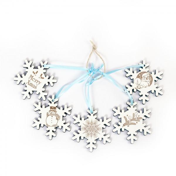 Weihnachtliche Schneeflocken zum Anhängen - 5 Stück - Set 2