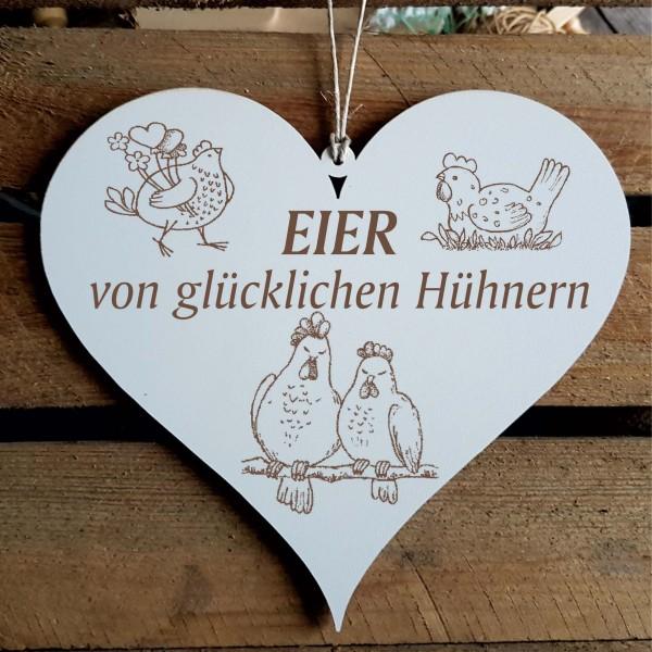 Schild Herz Eier von glücklichen Hühnern - 2 Hühner
