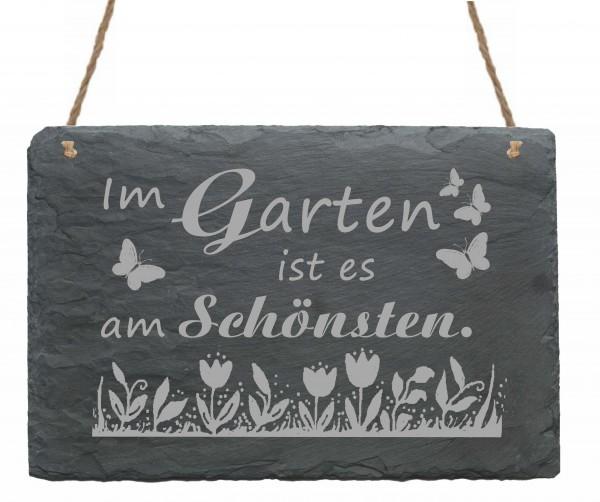 Schiefertafel « Im Garten ist es am Schönsten » Schild Blumen Schmetterlinge - 22x16