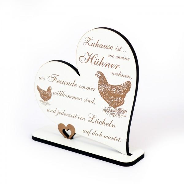 Dekoaufsteller Herz Zuhause ist wo meine Hühner wohnen - Schild Huhn 05