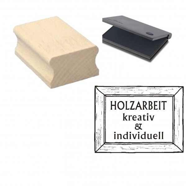 Stempel « HOLZARBEIT - kreativ & individuell » mit Kissen
