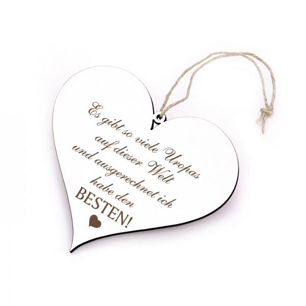 Schild Herz mit Spruch Bester Uropa der Welt - 13 x 12 cm