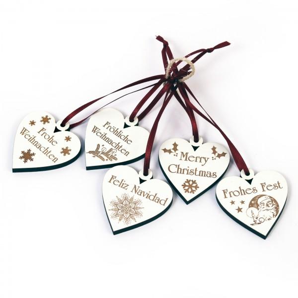Weihnachtliche Herzen zum Anhängen - 5 Stück - Set 1