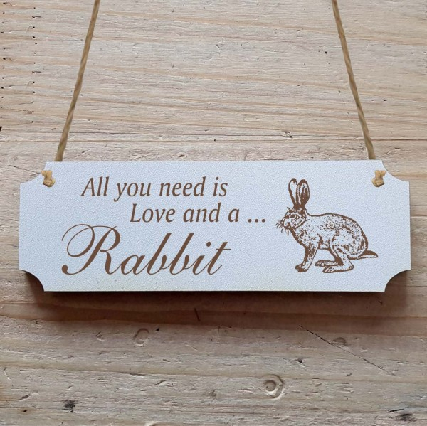 Dekoschild « All you need is Love and a Rabbit » Hase 3