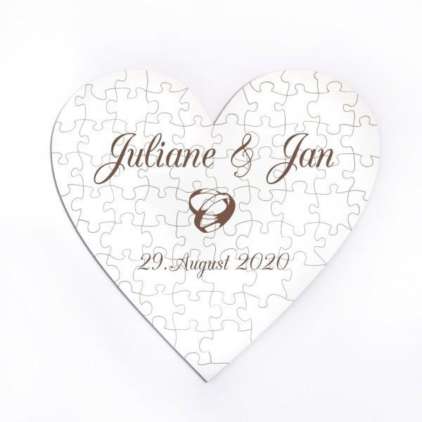 Herz Puzzle Hochzeit Ringe Namen + Datum • 70 Teile • personalisiert