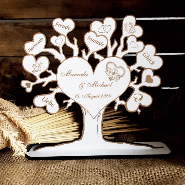 Personalisierter « LIEBESBAUM » mit Namen + Datum für Hochzeit