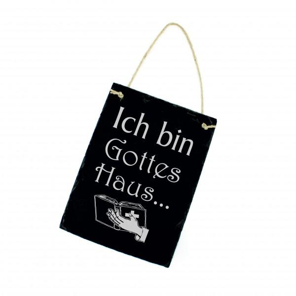 Schiefertafel Ich bin Gottes Haus - Schild hochkant 16x22 cm - Haussegen