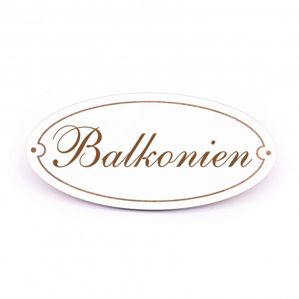 Ovales Türschild Balkonien - selbstklebend - 15 x 7 cm
