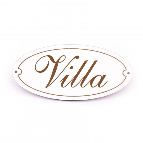 Ovales Türschild Villa - selbstklebend - 15 x 7 cm