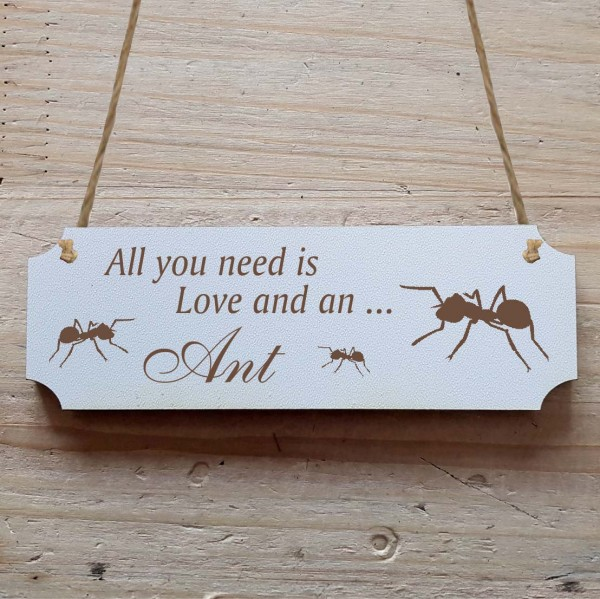 Dekoschild « All you need is Love and an Ant » Ameisen