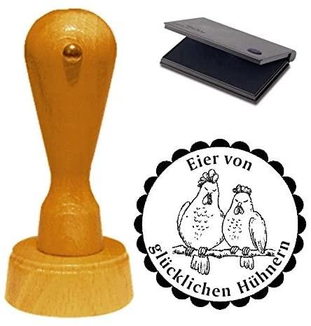 Stempel Eier von glücklichen Hühnern mit Motiv Hühnerpaar Ø 40 mm - inkl. Kissen