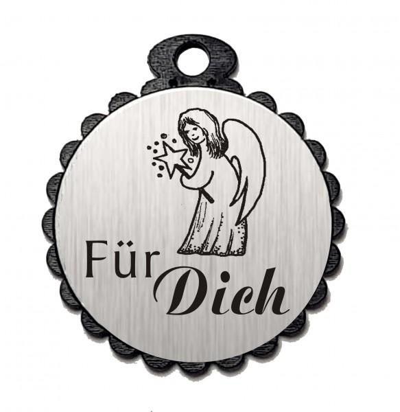 Runder Anhänger « FÜR DICH » mit Motiv ENGEL - Aluminium Look - silber