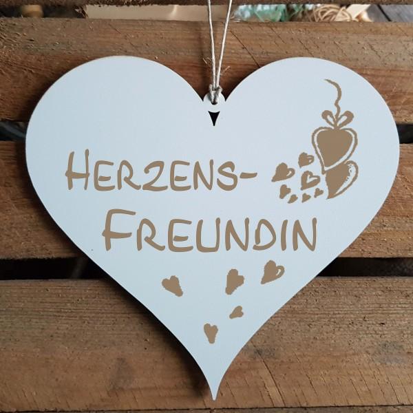 Herz Schild « HERZENSFREUNDIN » mit Motiv Herzen