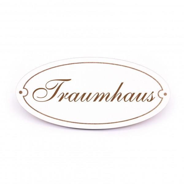 Ovales Türschild Traumhaus - selbstklebend - 15 x 7 cm